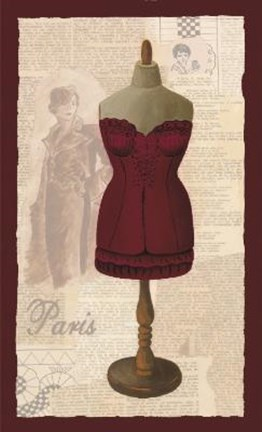 Framed Red Paris Corset Print