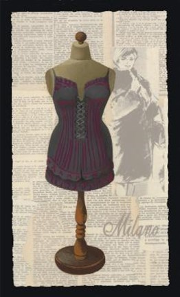 Framed Blue Red Milano Corset Print
