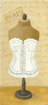 Framed White Paris Corset Print