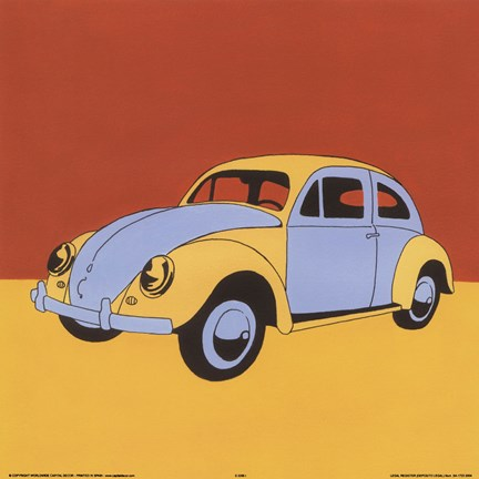Framed Yellow Blue Volkswagon Bug Print