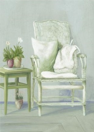 Framed White Wicker Chair With Pillows Print