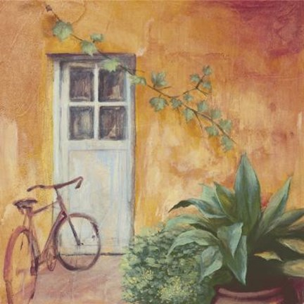 Framed Bicycle With Plants Print