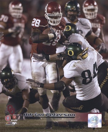 Framed Adrian Peterson University of Oklahoma Action Print