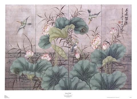 Framed Lotus Pond (Chinese Screen) Print