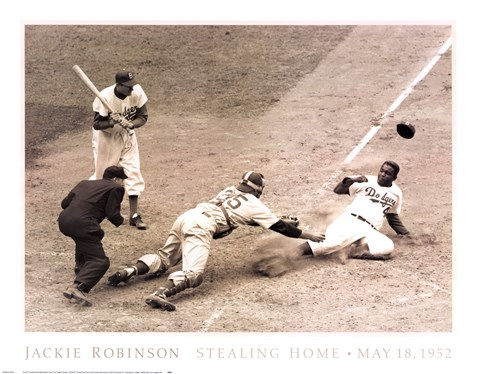 Framed Jackie Robinson Stealing Home, May 15, 1952 Print