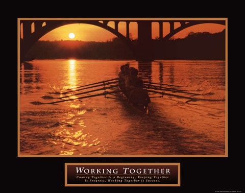 Framed Working Together - boat Print