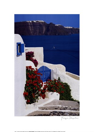 Framed Geraniums with View of Santorini Print