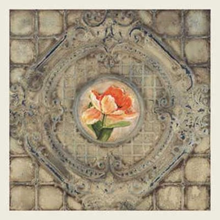 Framed Victorian Tile-Orange Tulip Print