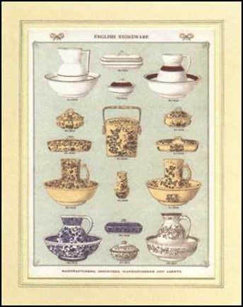 Framed English China (Bowls and Jugs 2) Print