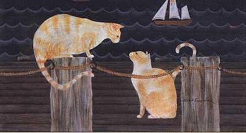 Framed Cats on Dock Print