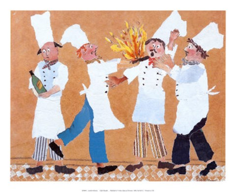 Framed Chefs with Burning Pan Print