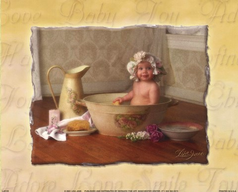 Framed Baby in Bathtub Print