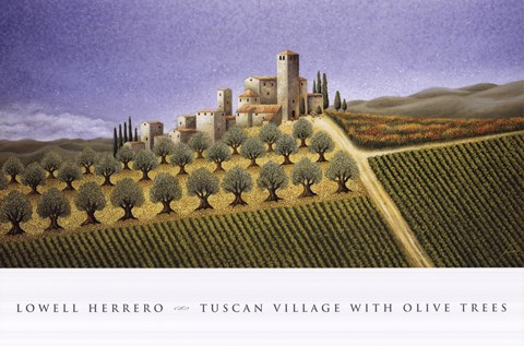 Framed Tuscan Village With Olive Trees Print