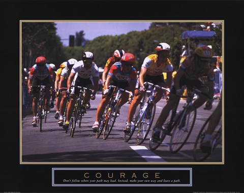 Framed Courage - Making A Turn Bicycle Race Print