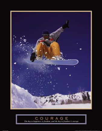 Framed Courage - Snowboarder Print