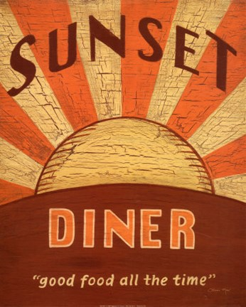 Framed Sunset Diner Print