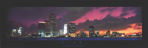 Framed Miami - Sunset with Cool Clouds Print