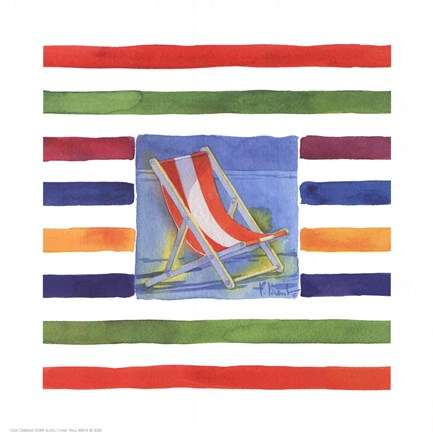 Framed Cabana Stripe Sling Chair Print