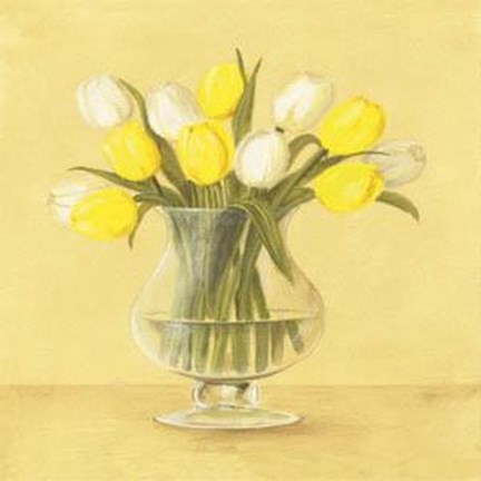 Framed White and Yellow Tulips In Vase Print
