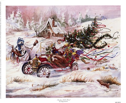 Framed Santas 1909 Ford Print