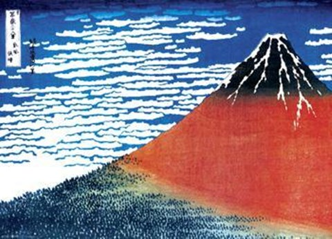 Framed Red Mount Fuji (Mural) Print