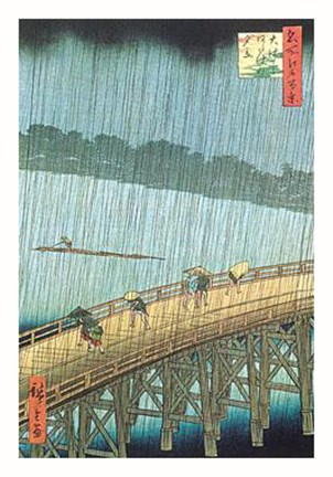 Framed Sudden Shower Ohashi Print