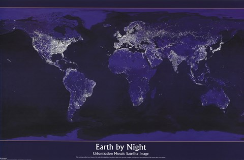 Framed Earth By Night Print