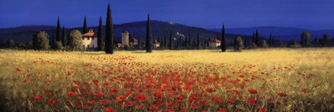 Framed Tuscan Panorama - Poppies Print