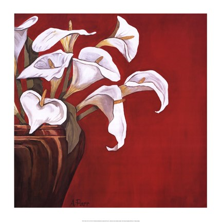 Framed Callas on Red Print