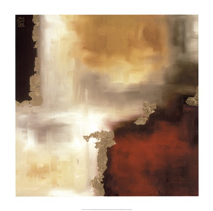 Framed Crimson Accent I Print