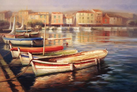 Framed Harbor Morning II Print
