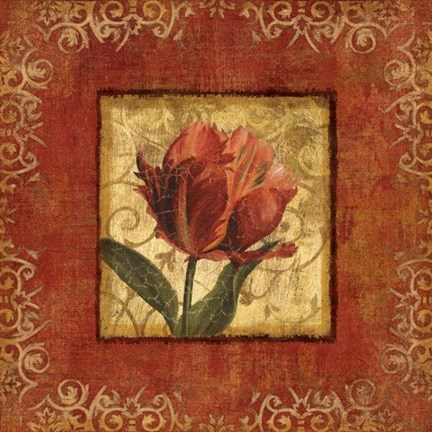 Framed Blooming Red I Print