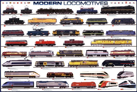 Framed Modern Locomotives Print