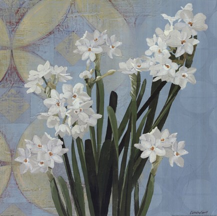Framed Paperwhites on Blue II Print