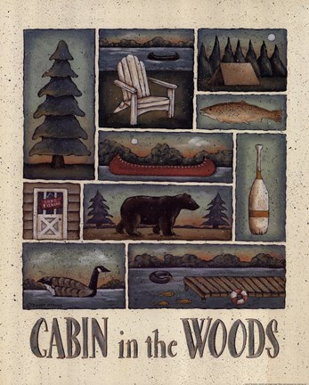 Framed Cabin in the Woods Print