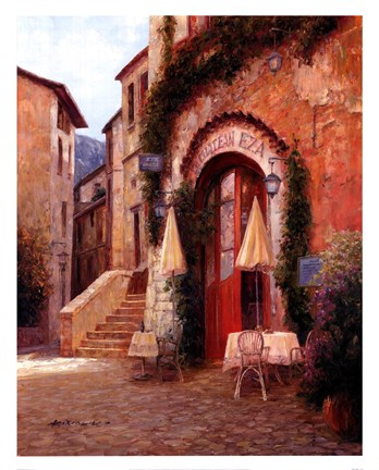 Framed Eze Village Cafe France Print