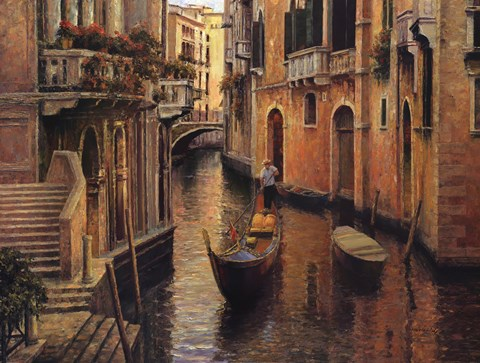 Framed Golden Evening Gondola Print