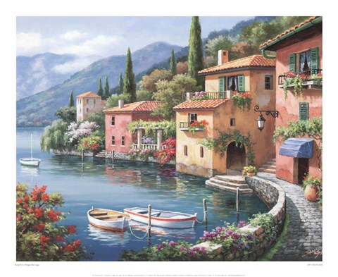 Framed Villagio Dal Lago Print