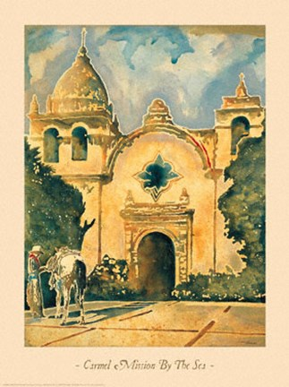 Framed Carmel Mission By The Sea Print