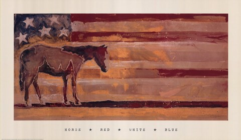 Framed Horse - Red, White & Blue Print
