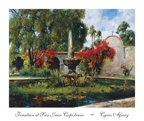 Framed Fountain At San Juan Capistrano Print