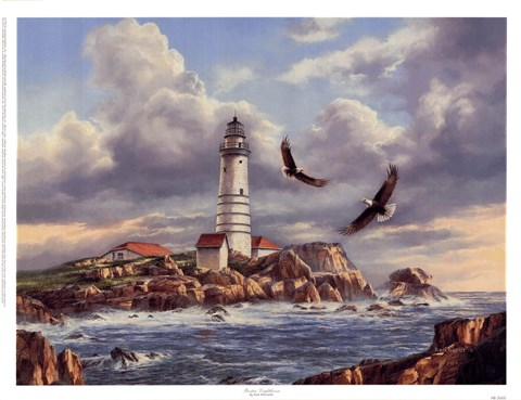 Framed Boston Lighthouse Print