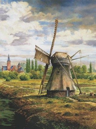 Framed Brouwers Windmill Print
