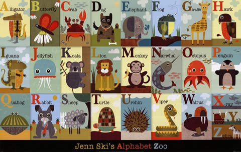 Framed Alphabet Zoo Print