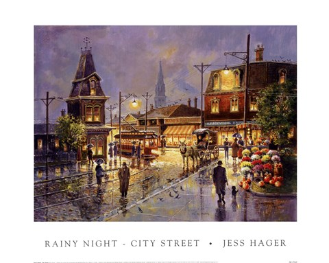 Framed Rainy Night-City Street Print