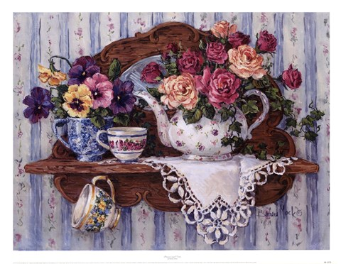 Framed Pansies And Lace Print