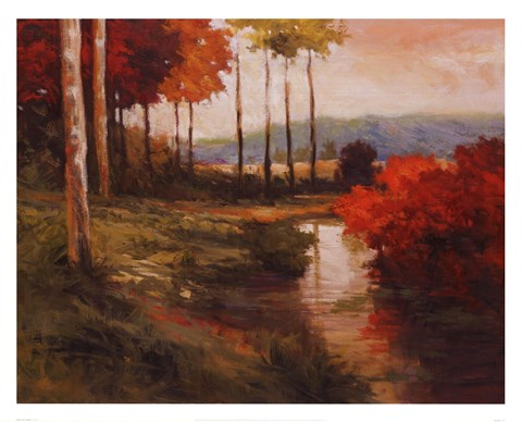 Framed Autumn River in Tuscany Print