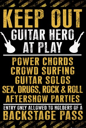 Framed Keep Out - Guitar Hero at Play Print