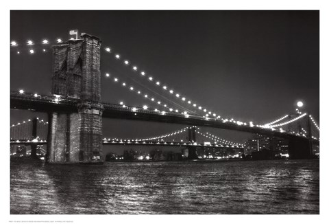 Framed Brooklyn Bridge and Manhattan Bridge, Night Print