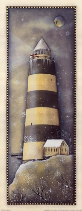 Framed Winter Lighthouse Print